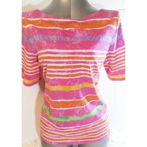 Ralph Lauren Pink Rainbow striped Womens T-Shirt
